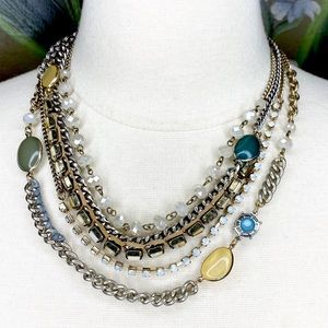 Loft Multi Strand Rhinestone Bead Boho Necklace